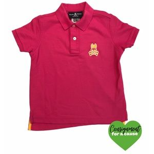 Psycho Bunny Pink Polo With Orange Accents